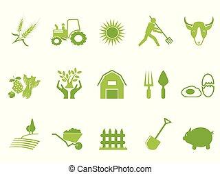 Un juego de iconos de color verde