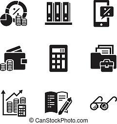 Un juego de iconos de estrategia financiera, estilo simple