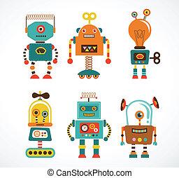 Un juego de iconos de robots