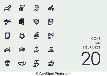 Un juego de iconos de seguros de autos
