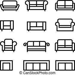 Un juego de iconos de Sofa