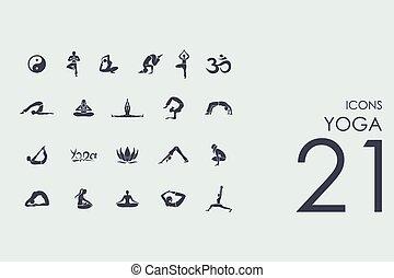 Un juego de iconos de yoga