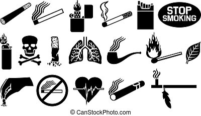 Un juego de iconos fumadores