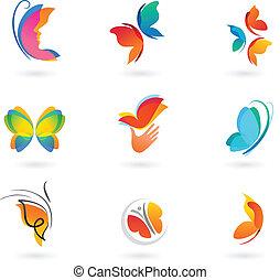 Un juego de iconos mariposa