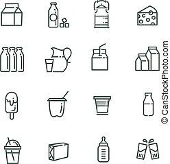 Un juego de iconos para la leche
