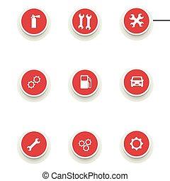 Un juego de iconos redondos para el servicio de coches