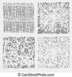 Un juego de incubación áspera dibujando ilustración vectorial de textura.