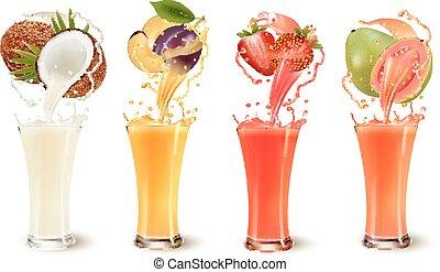 Un juego de jugo de fruta en un vaso. Coco, ciruela, fresa y guayaba. Vector
