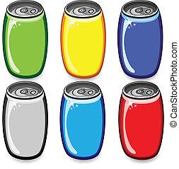 Un juego de latas coloridas
