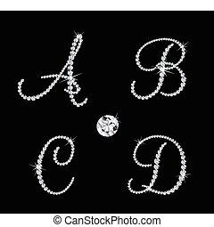 Un juego de letras alfabéticas de diamantes. Vector