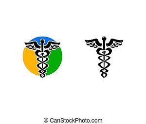 Un juego de logotipo médico de Caduceus
