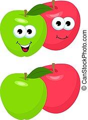 Un juego de manzanas con hojas. Lindo y divertido personaje de manzana roja y verde, mascota, elemento de decoración, ilustración de vectores de dibujos animados aislada en el fondo blanco. Concepto la salud