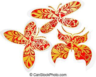 Un juego de mariposas doradas. Vector