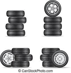 Un juego de neumáticos para los coches