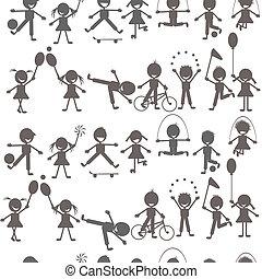 Un juego de niños jugando siluetas