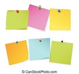 Un juego de notas de color con diferentes alfileres de colores