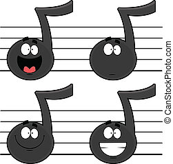 Un juego de notas musicales