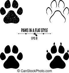 Un juego de patas de perro. Rastros negros en diferentes estilos. Aislado de fondo blanco. Siluetas de patas