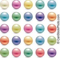 Un juego de perlas brillantes