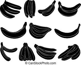 Un juego de plátanos diferentes