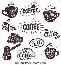 Un juego de placas de café, etiquetas, señales. Diseño monocromo con elementos elegantes.