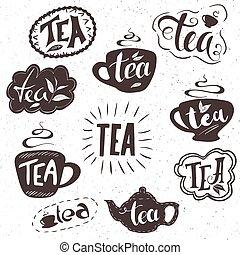 Un juego de placas de té, etiquetas, señales. Diseño monocromo con elementos elegantes.
