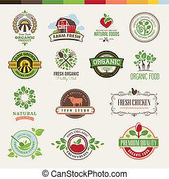 Un juego de placas para comida orgánica