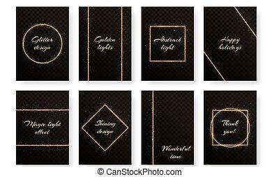 Un juego de postales con marcos de oro
