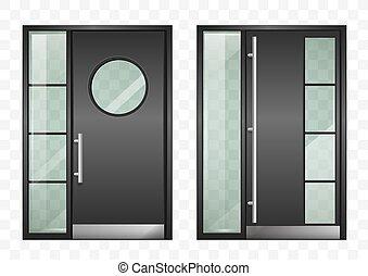 Un juego de puertas de entrada modernas