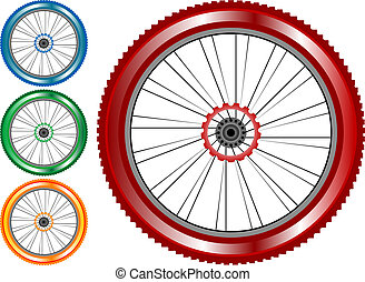Un juego de ruedas de colores con neumáticos y radios aislados de fondo blanco. Vector