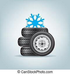 Un juego de ruedas de invierno