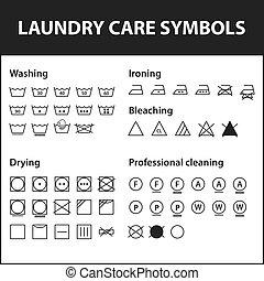 Un juego de símbolos de lavandería. Lavando símbolos de instrucciones. Ropa, colecta de señales textiles