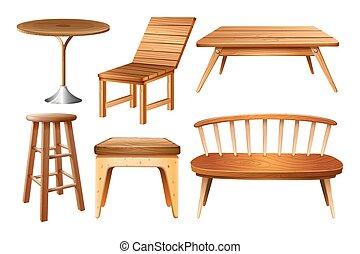 Un juego de sillas y mesas