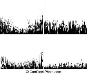 Un juego de siluetas de hierba