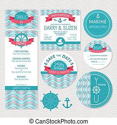 Un juego de tarjetas de boda marina