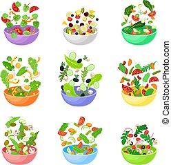 Un juego de tazones con trozos de vegetales. Ilustración de vectores en un fondo blanco.