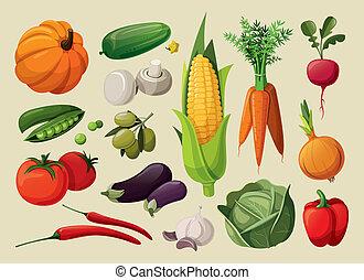 Un juego de vegetales deliciosos.