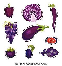 Un juego de vegetales morados. Ilustración de vectores sobre fondo blanco.
