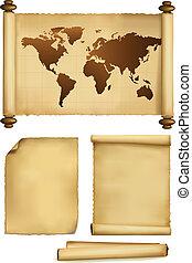Un juego de viejas hojas de papel y un viejo mapa