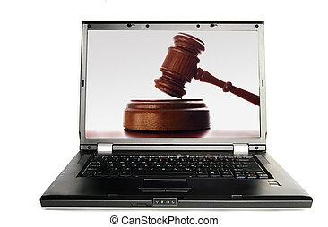 Un juez dio en pantalla, sobre blanco