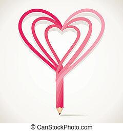 Un lápiz con forma de corazón