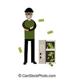 Un ladrón profesional con una máscara abrió una caja fuerte con el vector de dinero de la ilustración