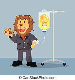 Un león de negocios con una bombilla