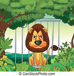 Un león enojado dentro de una jaula
