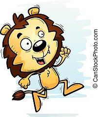 Un león macho que corre