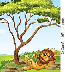 Un león rey tirado junto al árbol