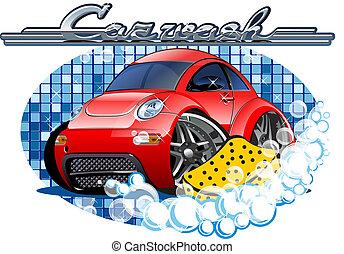 Un letrero de lavado de autos con esponja