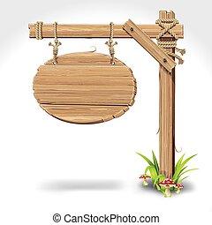 Un letrero de madera colgando de una cuerda