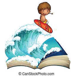 Un libro abierto con un chico surfeando