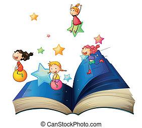 Un libro con niños jugando